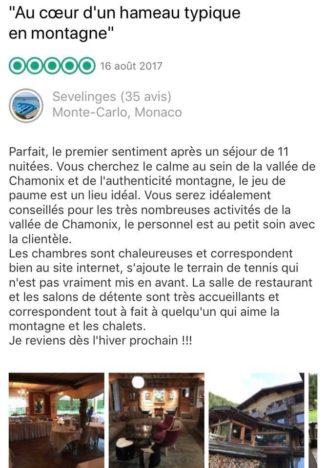 L'hotel du jeu de Paume à Chamonix au coeur du hameau du Lavancher